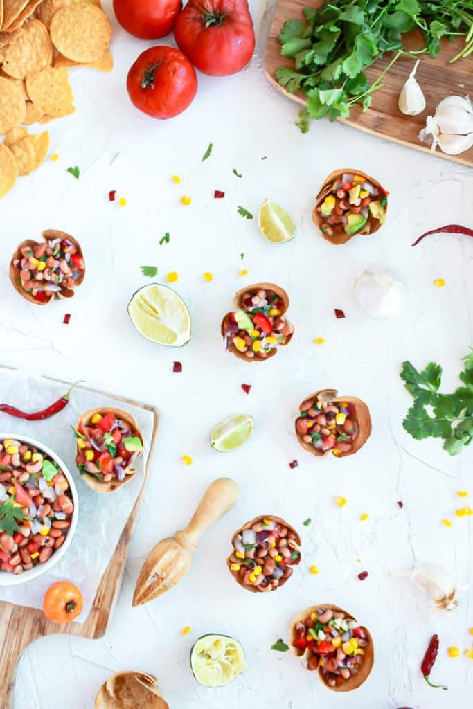 Individual Vegan Bean Dip Cups in the cups and a bowl