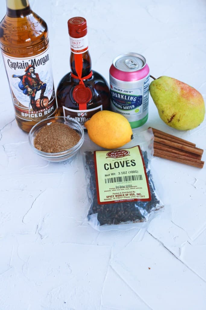 The ingredients for Fall Spiced Pear Punch laid out