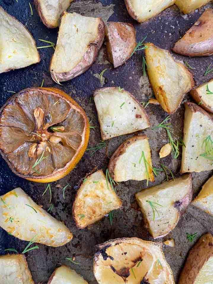 roasted lemon and dill potatoes