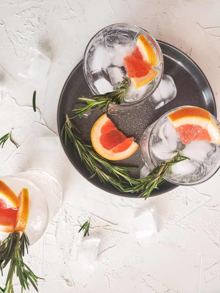 Aerial view of Kicked up Grapefruit Rosemary Spiked Seltzer