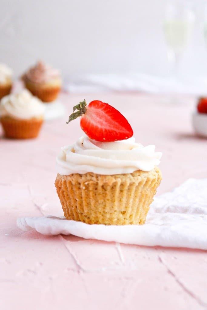 Strawberry Champagne Vegan Cupcake