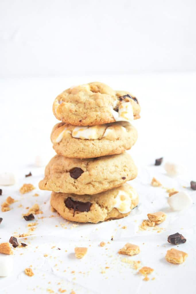 S'More Cookies in a stack