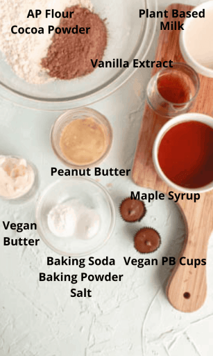 Ingredients for chocolate peanut butter donuts