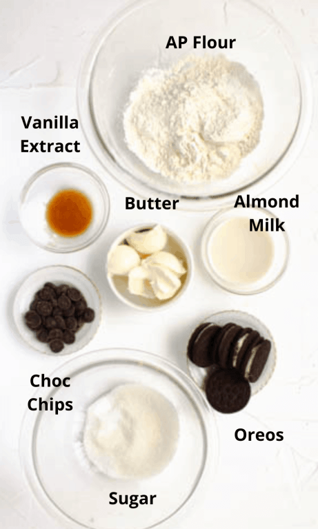 All ingredients for cookies laid out into separate bowls