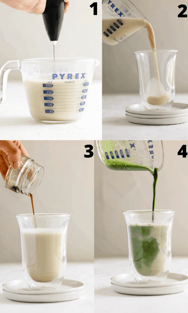 Steps to make matcha oat milk latte (a four picture collage)