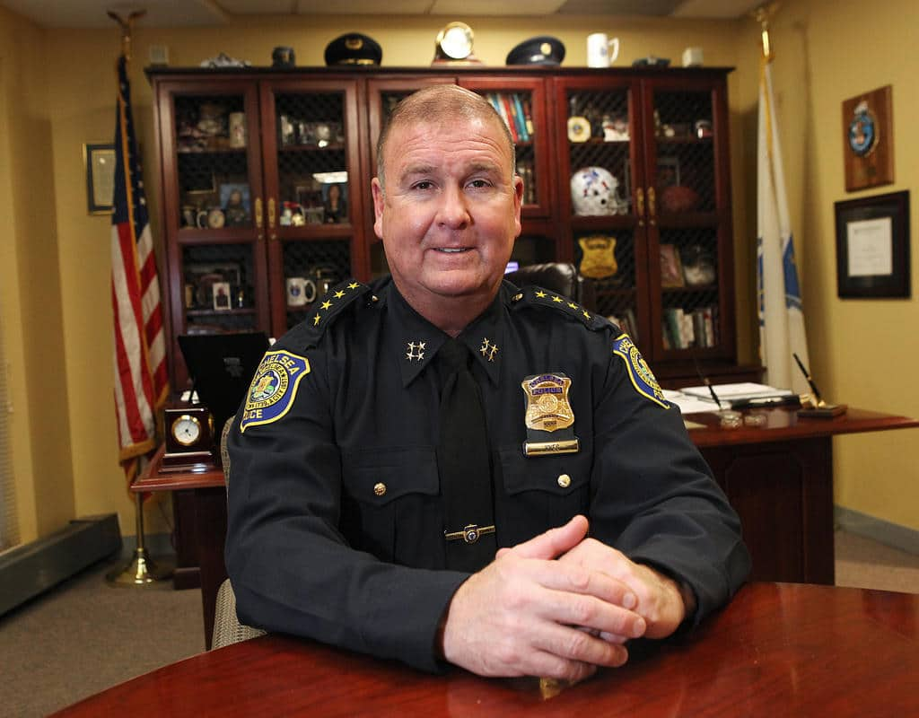 (Boston, MA - 12/10/13) Chelsea Police Chief Brian Kyes is seen in his office, Tuesday, December 10, 2013. Staff photo by Angela Rowlings.