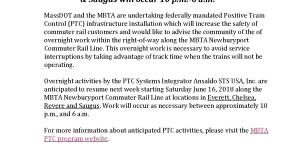 Advisory: Newburyport Commuter Rail Track Overnight Work In Chelsea Starting 6/16/18
