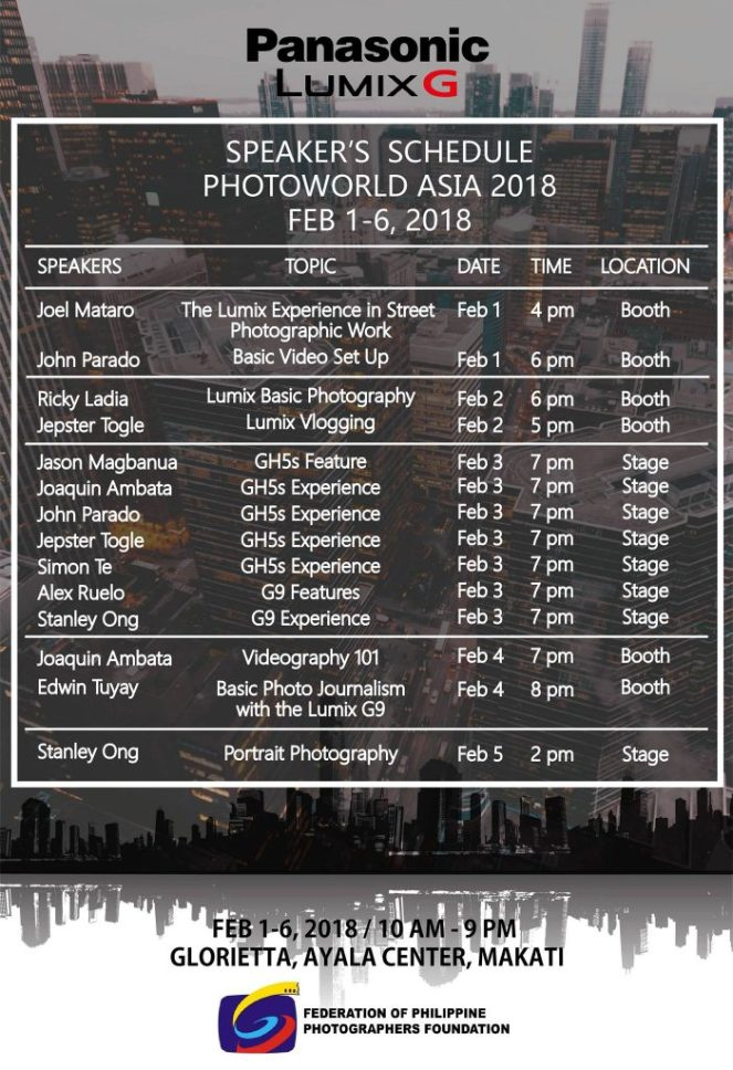 Speaker's Schedule Photoworld Asia 2018. Courtesy of Lumix PH (Facebook)
