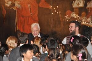 John Simpson CBE with the children from the Holy Trinity choir.