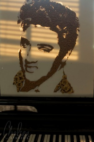 Close-up of Elvis portrait in environment