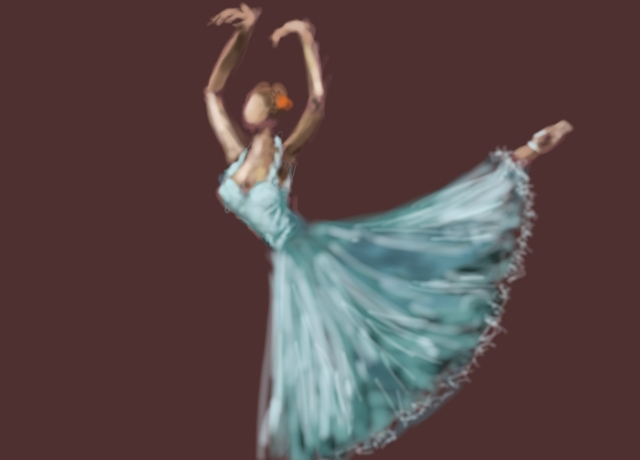 image of a woman dancing in a blue dress