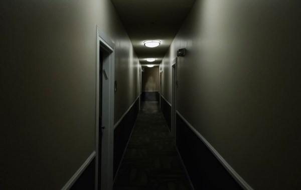 dark hallway with ghost
