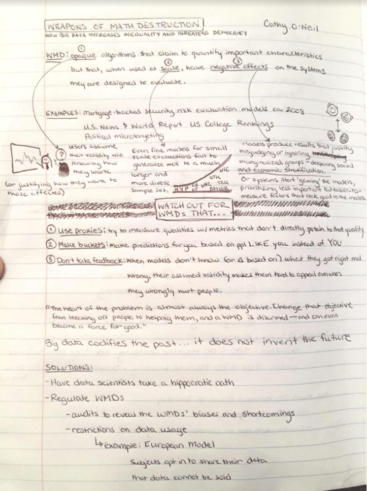One-Page Notes on Weapons of Math Destruction