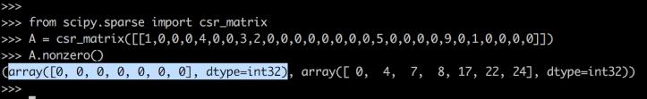 csr matrix with 1d array