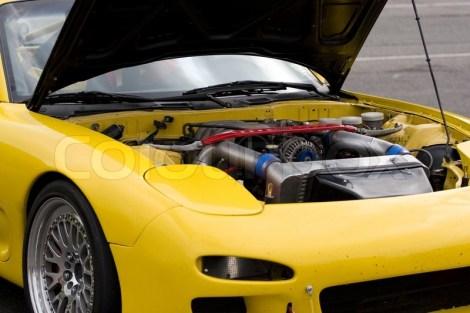 sports car under hood