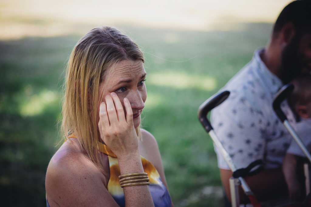 wedding guest cries during ceremony at mansfield outdoor centre
