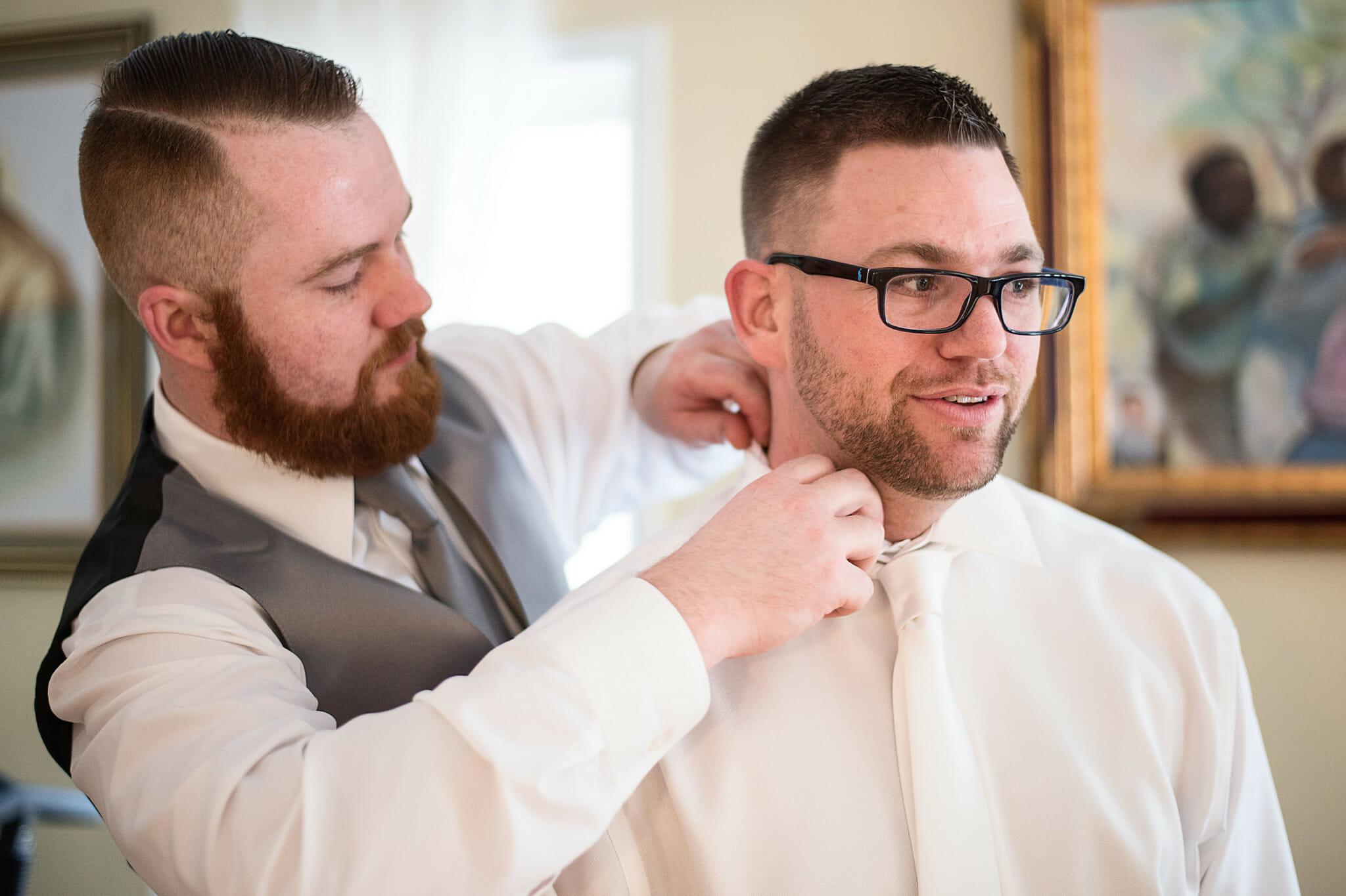 groom getting ready in vaughn