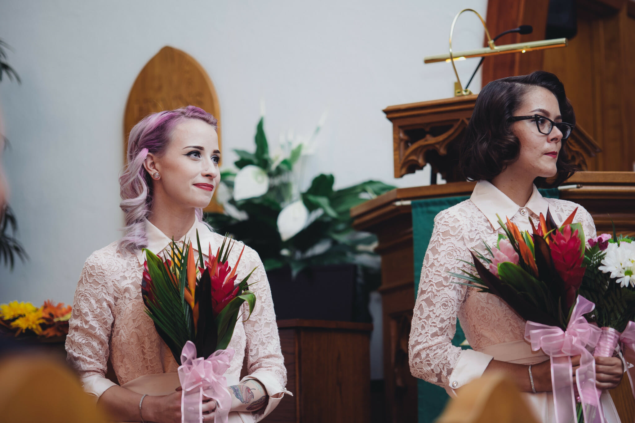 bridesmaids watch ceremony at kedron united church