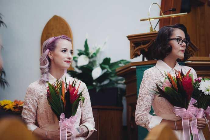 bridesmaids watch ceremony at kedron united church