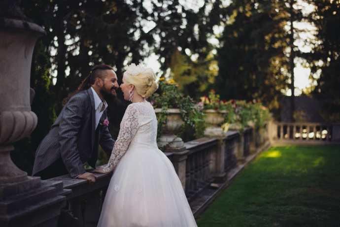 couples laughs at parkwood estate wedding