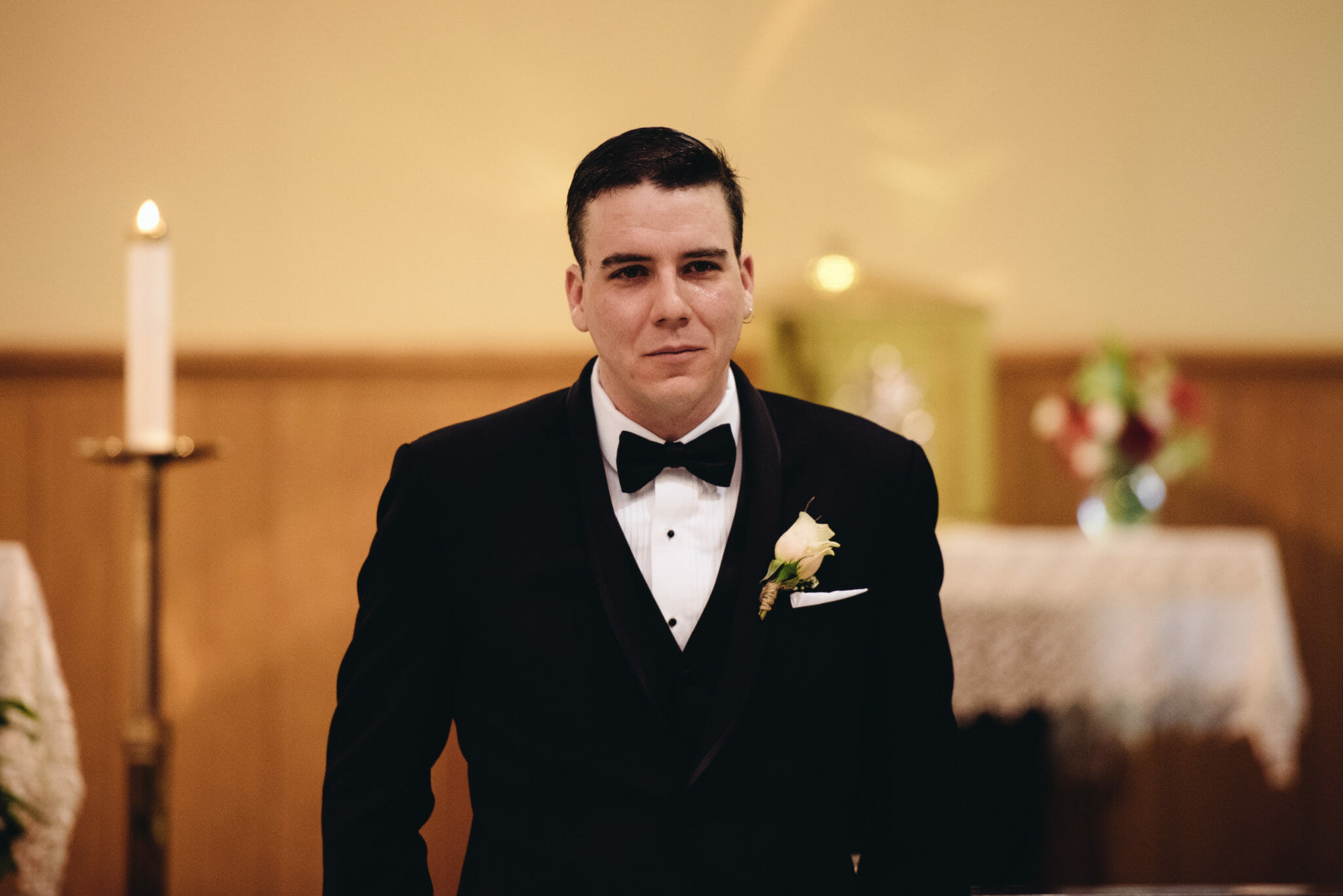 groom tears up when he sees bride for first time