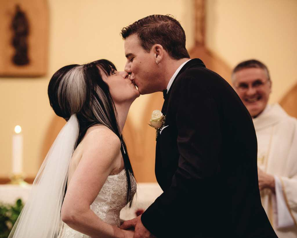 first kiss at wedding in st joesphs bowmanville