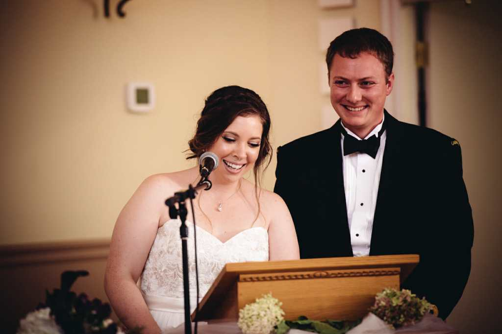 couples speak at their st leo church wedding