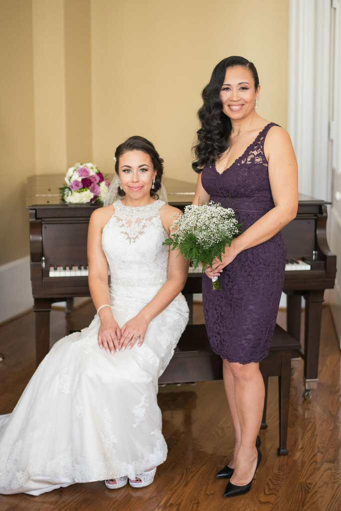 bride and maid of honour at trafalgar castle wedding