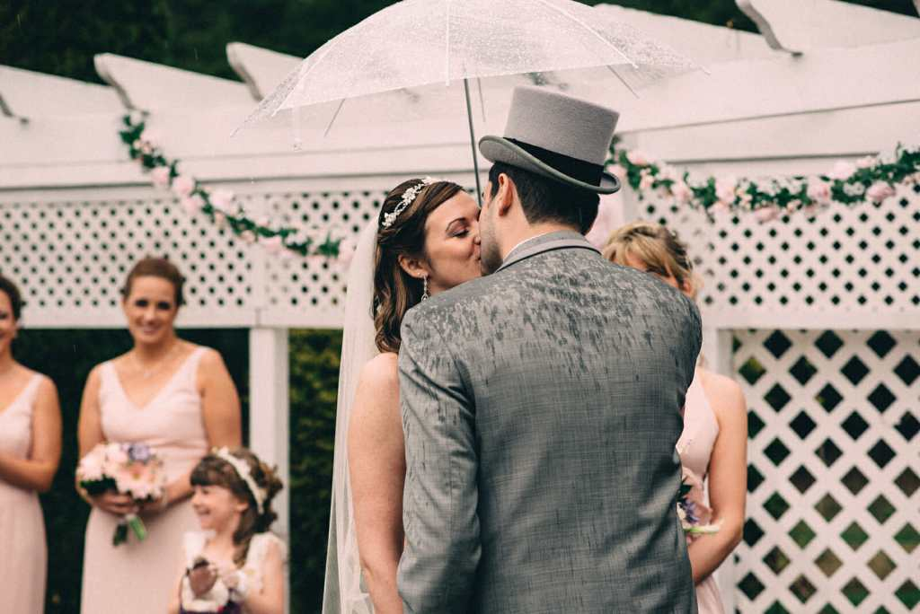 first kiss at trillium trails wedding