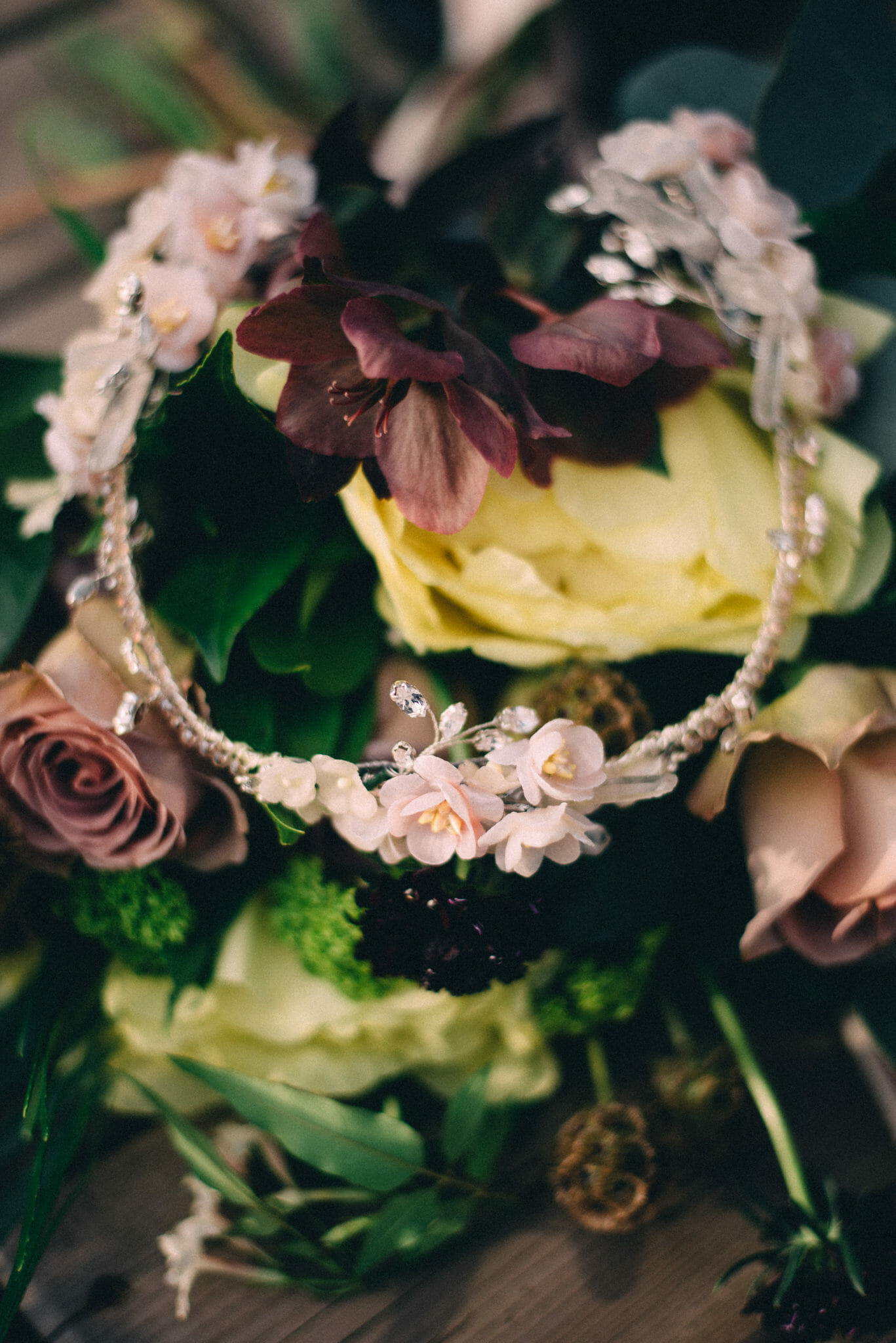 bridal crown with flowers and crystals