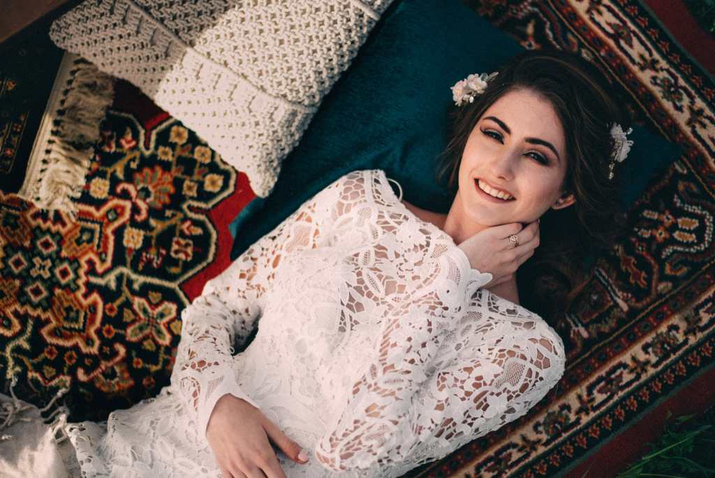 Non Traditional Bridal laying on Persian rug