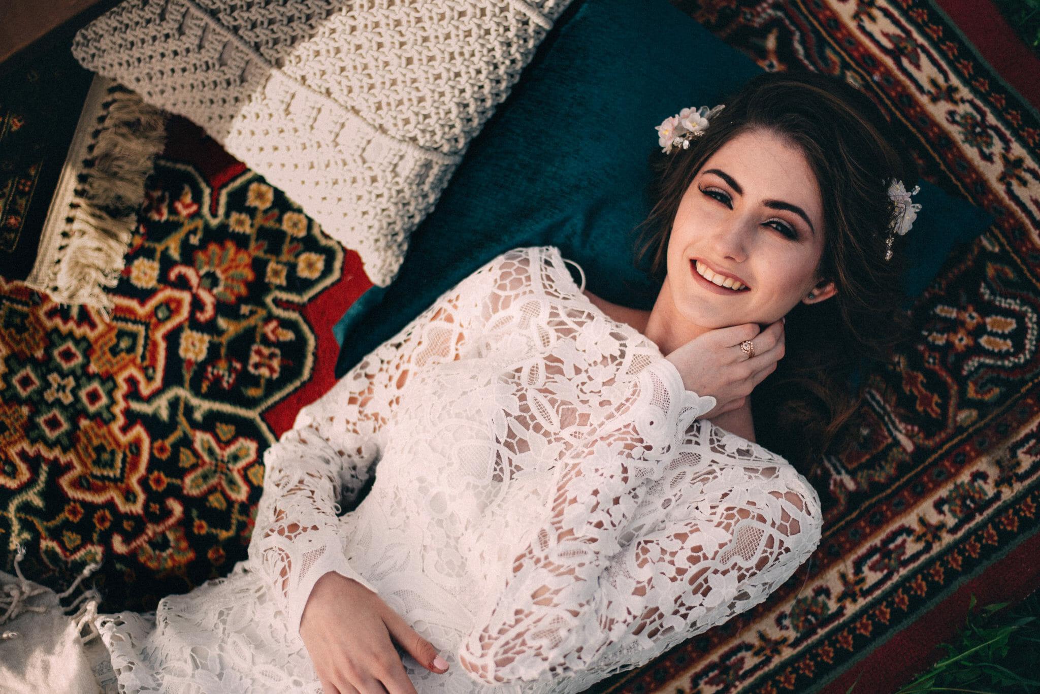 Non Traditional Bridal laying on Persian rug