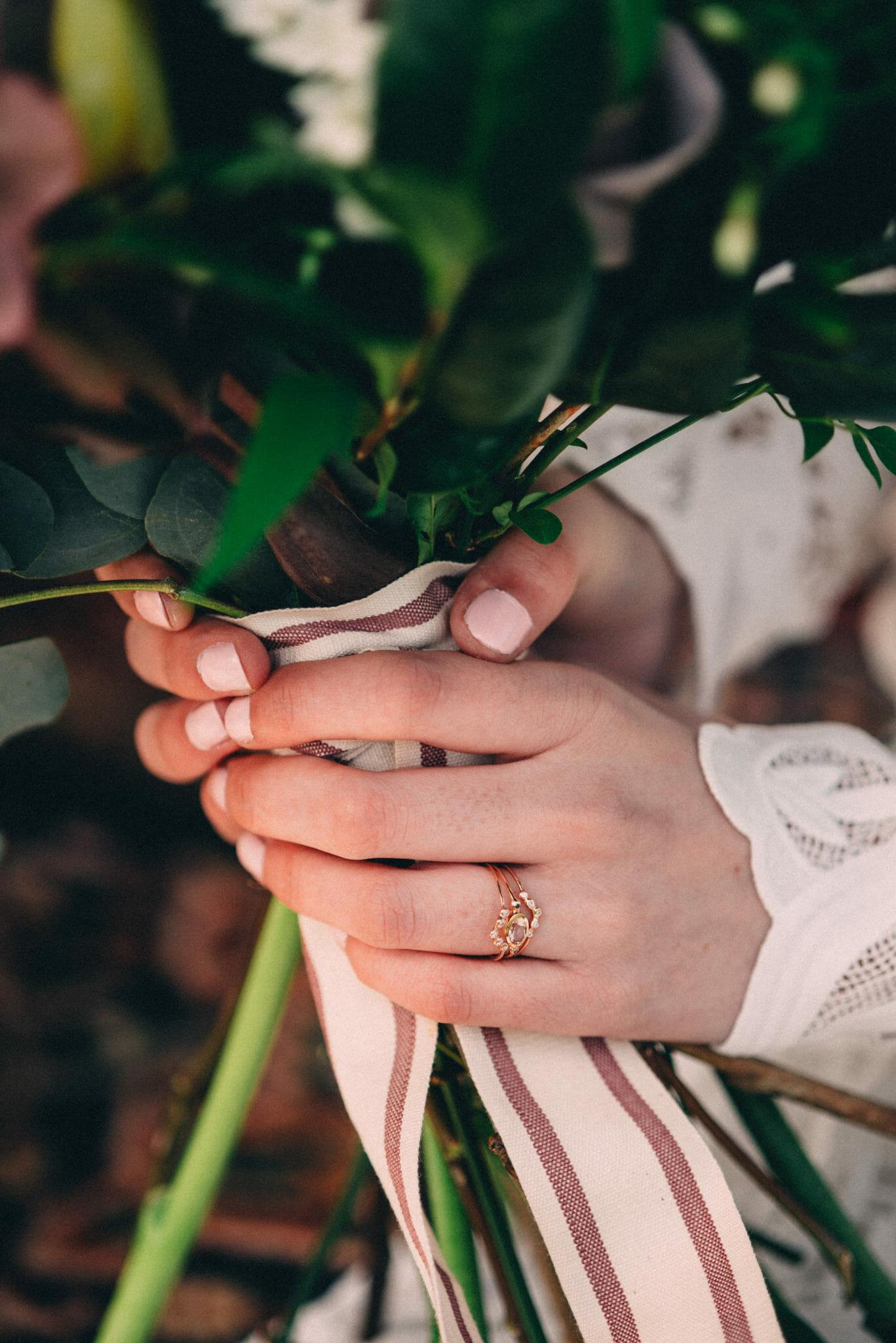 Bluboho stacked wedding rings
