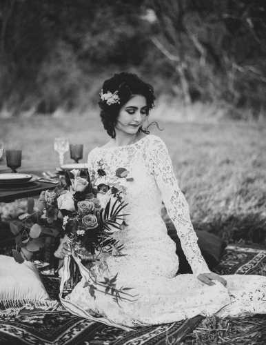 bohemian bride wearing maureen patricia bridal