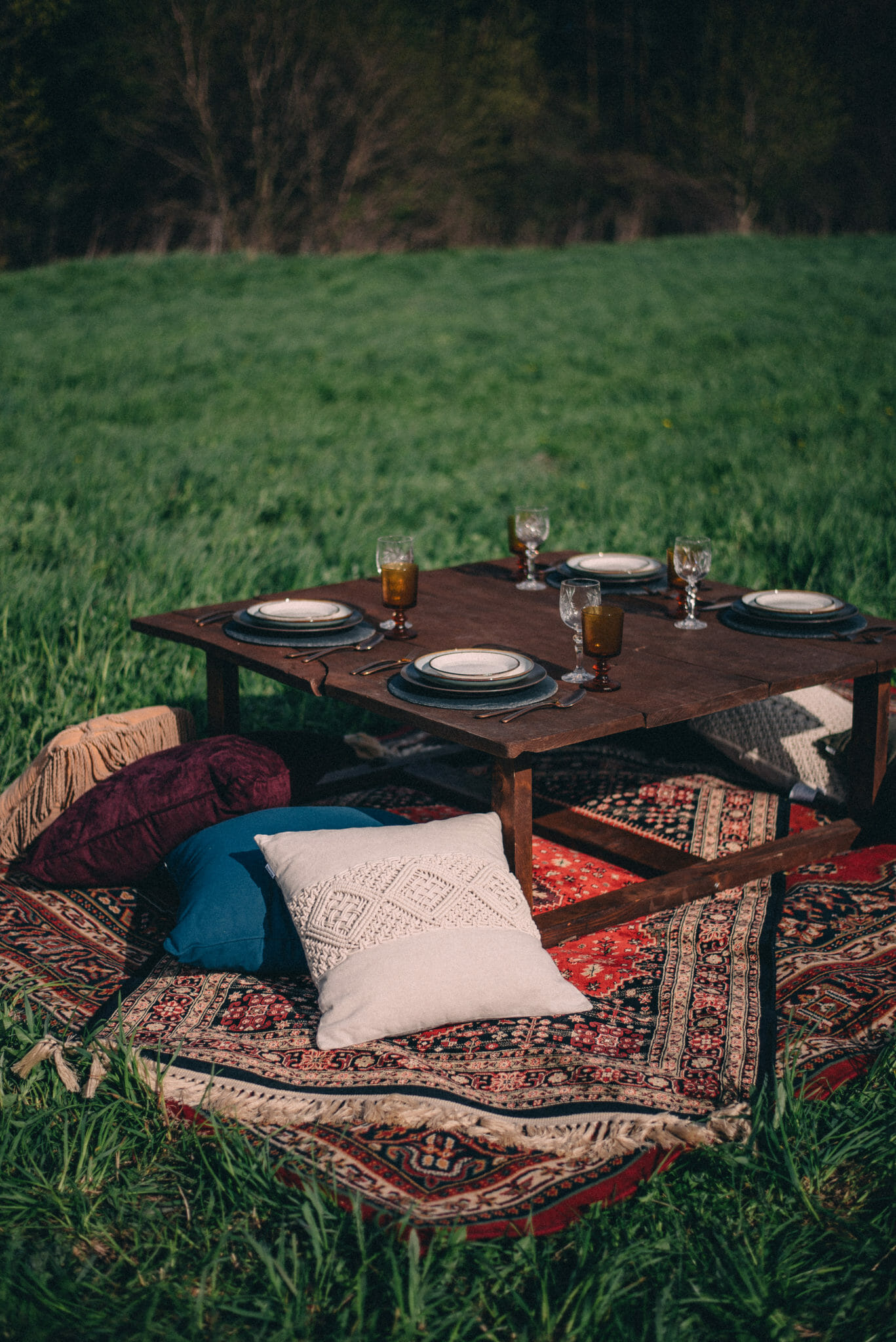 camp wedding tablescape with pillows