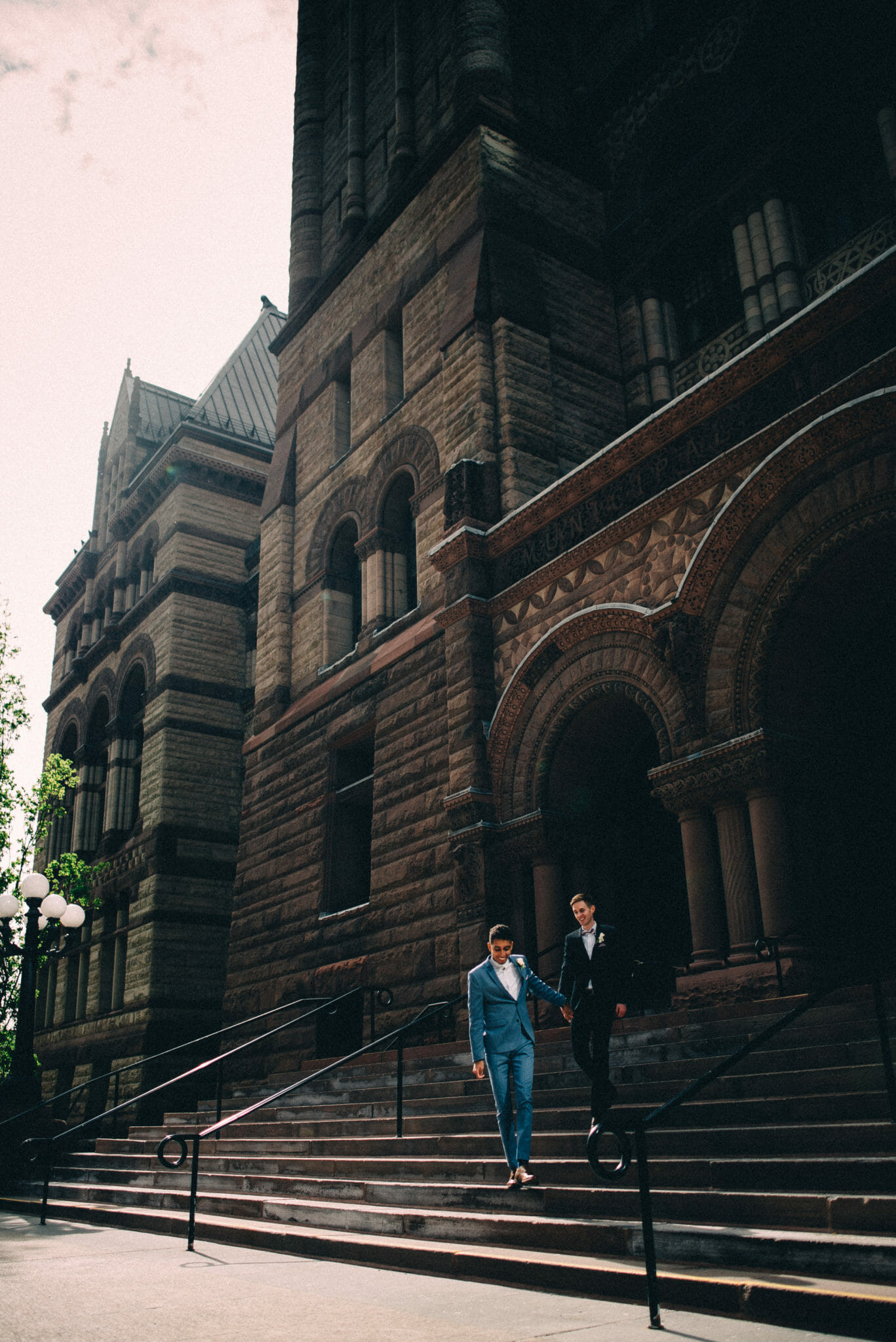 couple on stairs of old toronto city hall
