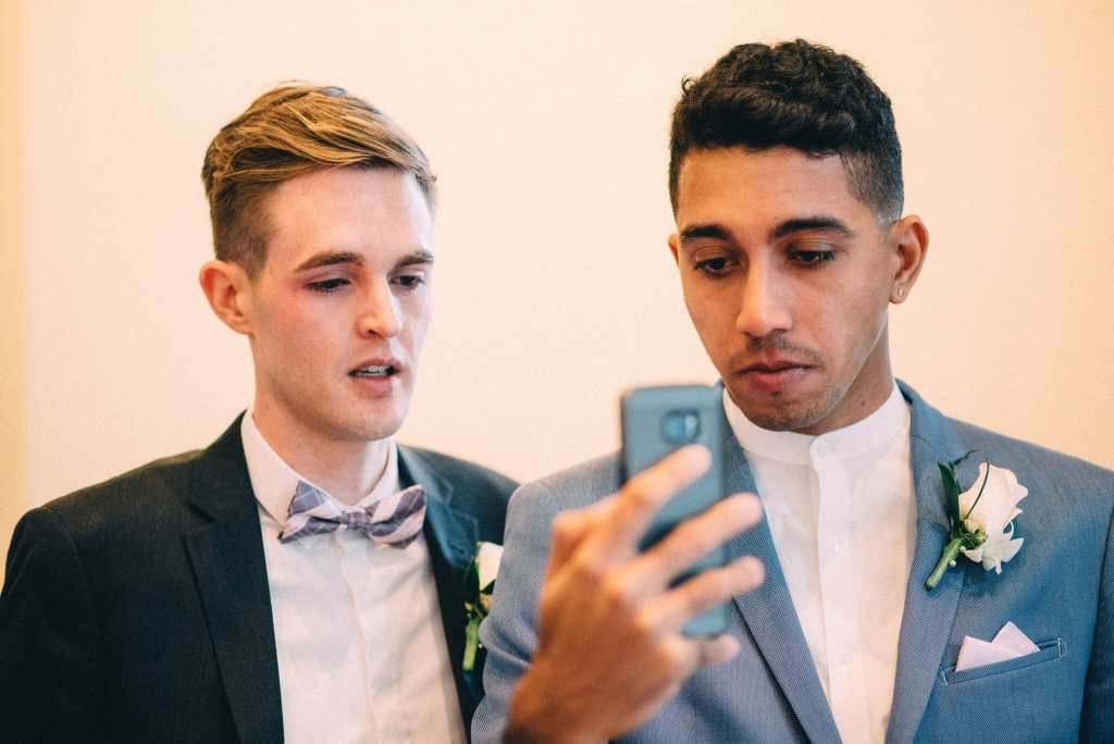 couple on conference call after wedding