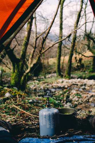 camp stove while glencoe wild camping