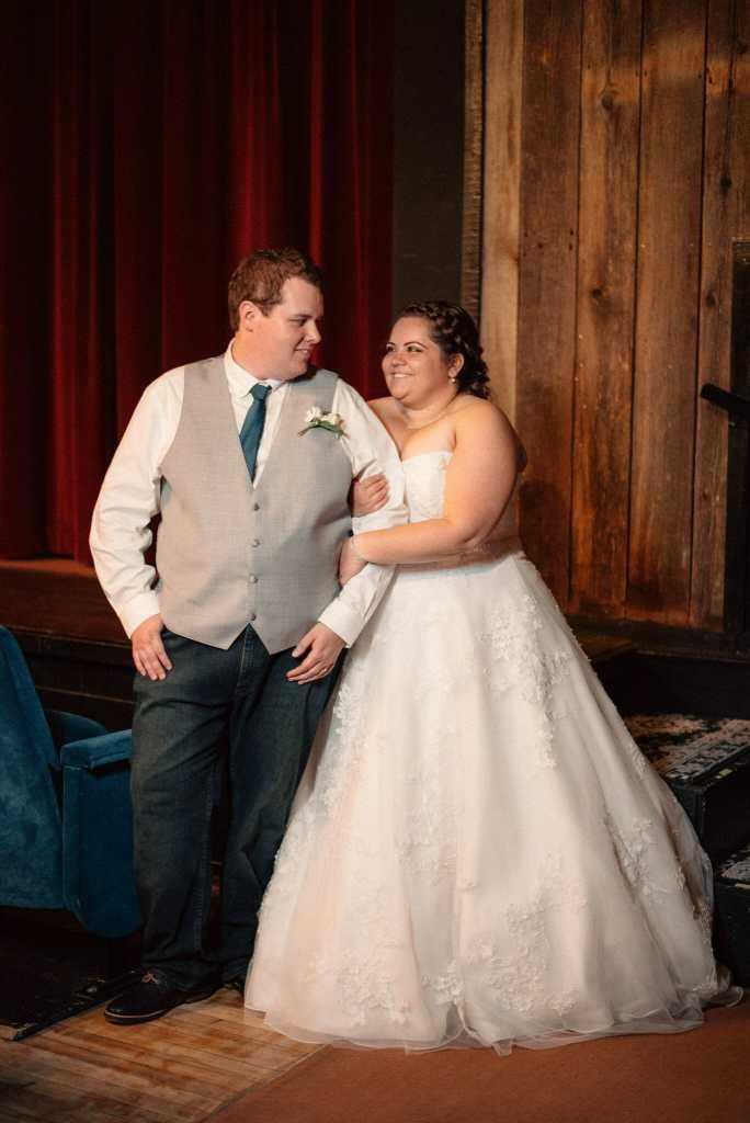 bride and groom wedding photos in herongate barn theatre
