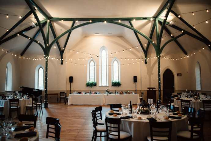 enoch turner schoolhouse set up for toronto wedding reception