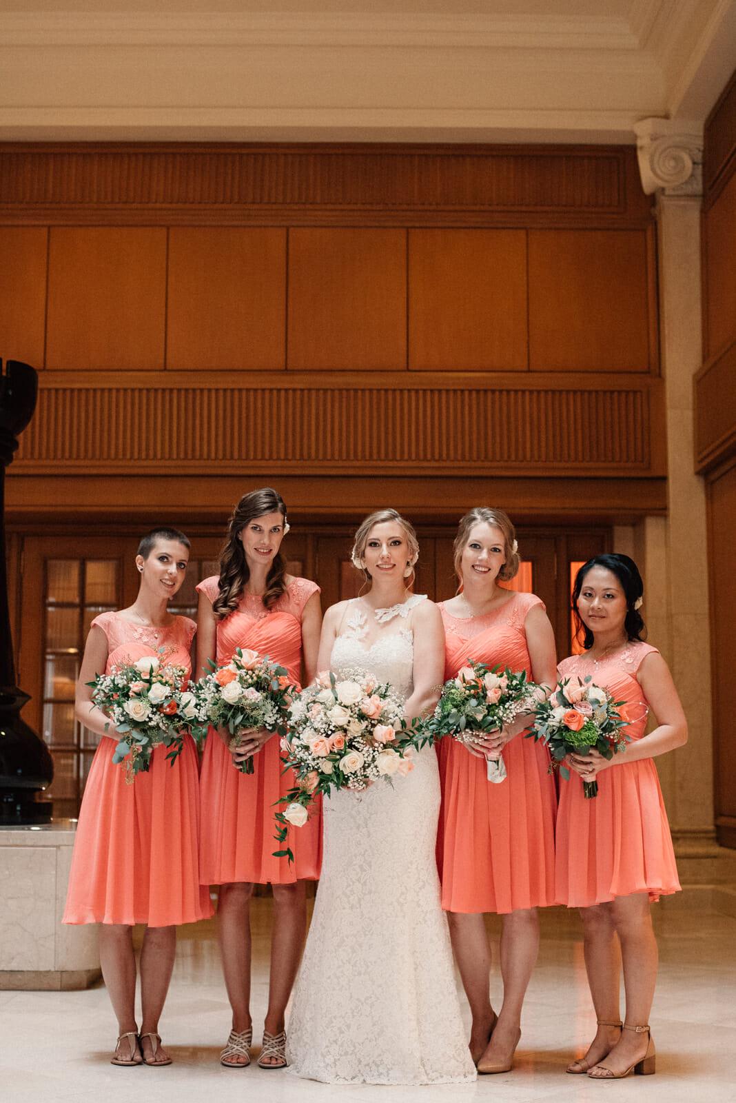 bridal party photos in the king edward hotel toronto