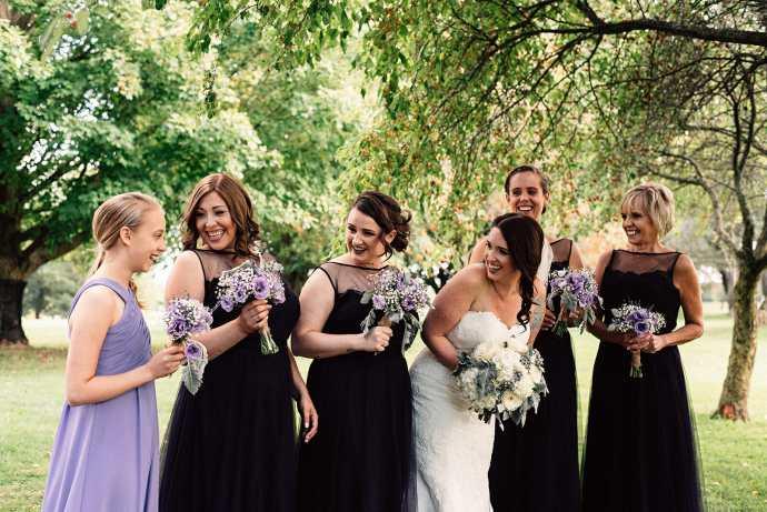 bridal party photos at golf course