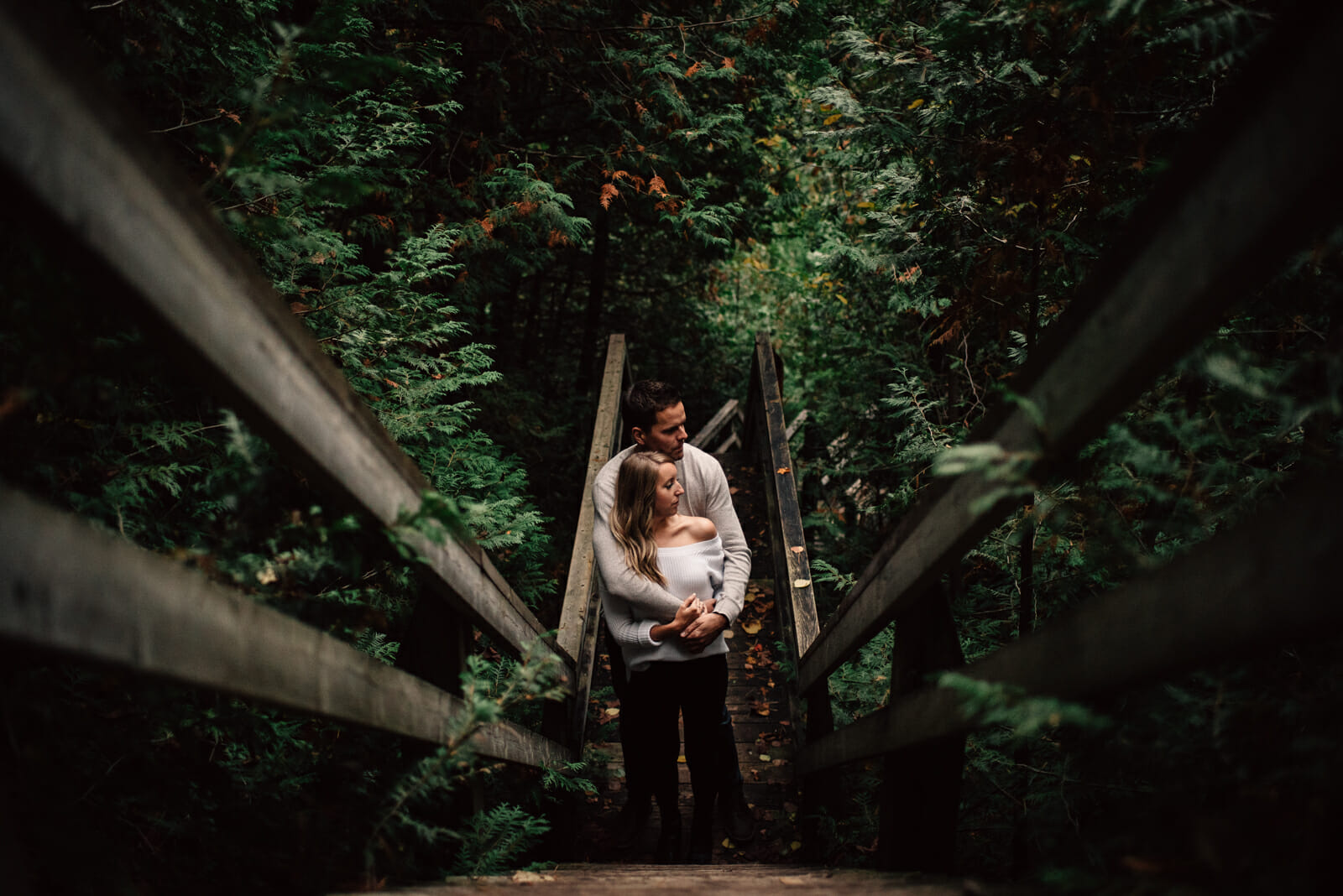 intimate engagement photos in forest canada