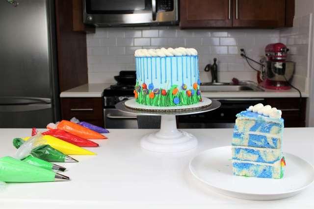 April Showers Blue Drip Cake