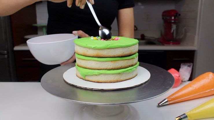 tequila lime cake adding sprinkles