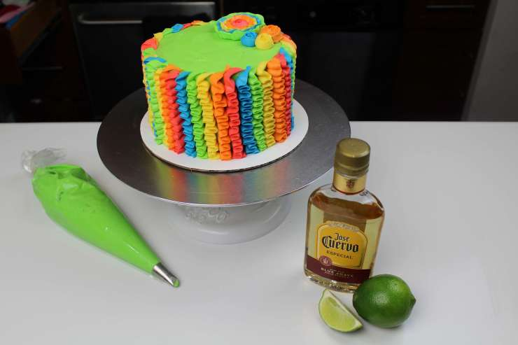 uncut tequila lime cake from above