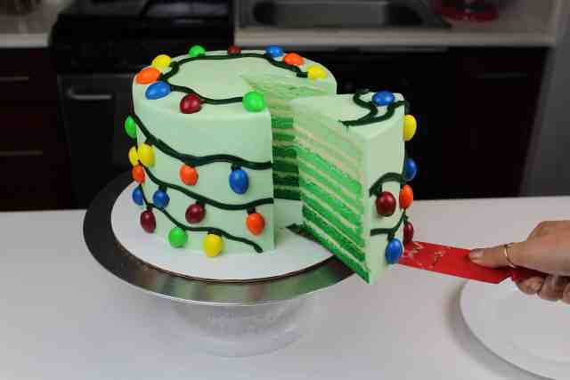 sliced christmas lights cake
