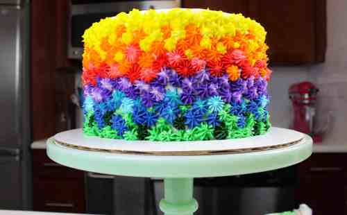 Image of a colorful buttercream cake