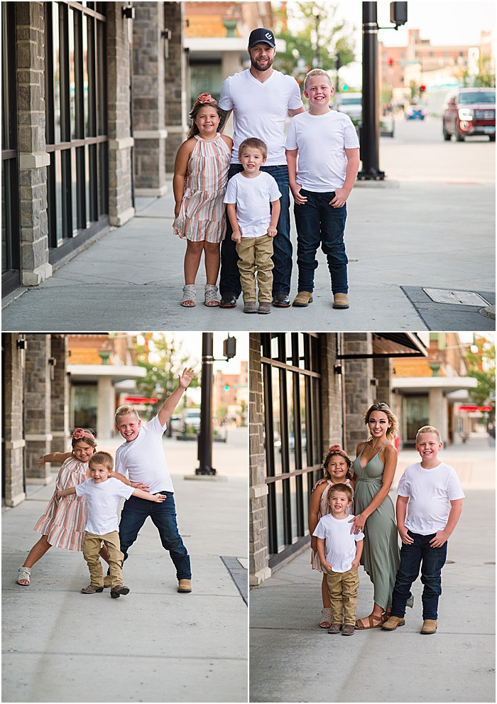 downtown williston engagement photo north dakota brick building family and kids