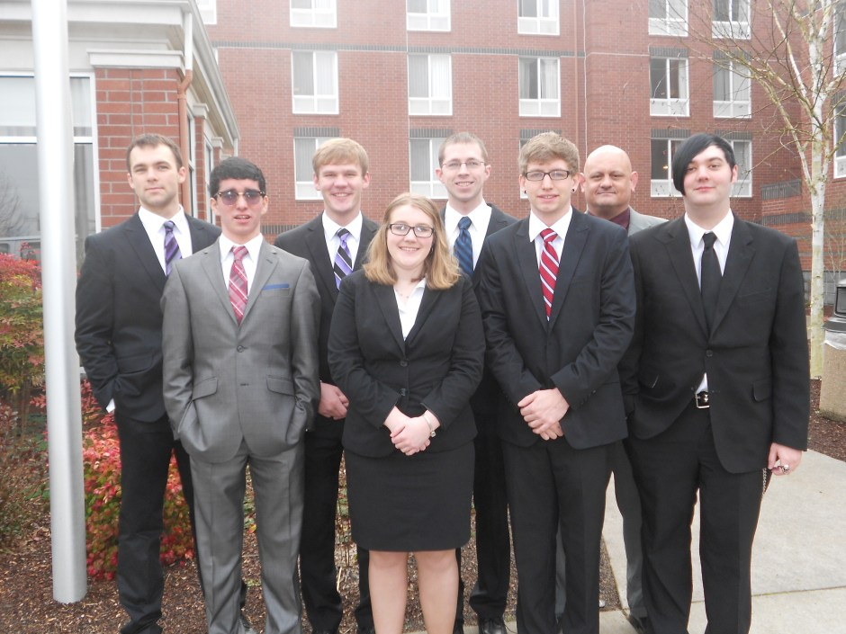The 2013-14 Chemeketa Mock Trial team stops for one last photograph before heading to court at Oregon State University during last year's Mock Trial Regional Tournament.